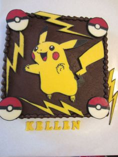 Pokemon Pikachu chocolate cake. Pikachu, pokemon balls and lightning all done with chocolate transfers.