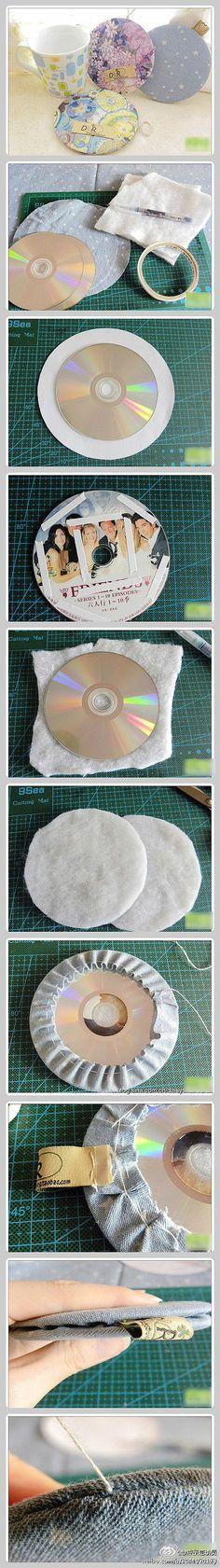 DIY. Posavasos acolchados creados a partir de CDs