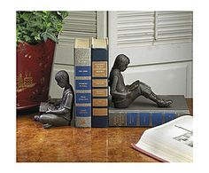 Bronze Iron Children Reading Bookends, Set Of Two Dessau Home Bookends Bookends Home Decor Tea And Books, I Love Books, My Books, Book Storage, Kids Reading, Reading Nooks, Book Lovers Gifts, Library Books, Dream Library