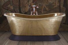 Copper Bateau cast iron bath polished nickel and Conway leather plinth Copper Roll, Lisbon Apartment, Stand Alone Bathtubs, Cast Iron Bath, Copper Bath, Roll Top Bath, Apartment Renovation, Brass Bathroom, Bathroom Renovations