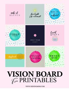 Vision Board Template, Vision Board Ideas Diy, Goal Board, Creating A Vision Board, Visualisation, Images And Words, Goal Quotes, Free Printables, Free Printable Quotes