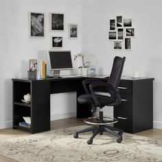 Trendy home office black furniture storage 24 ideas Black Desk, Black Office Desk, Black Corner Desk, L Shaped Corner Desk, L Shaped Executive Desk, Black Rooms, Black Furniture, Black Home Office Furniture, Home Office Desks