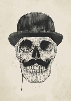 Poster | GENTLEMEN NEVER DIE von Balazs Solti | #poster #design #illustration #balazssolti #bsolti #art #artwork #drawing #skull #hipster #moustache