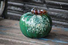 "Green Spot Pumpkin, 5"" Blown Glass Decorative Squash Sculpture in Dark Green with Light Blue and Beige Accents Spots, Golden Brown Stem"