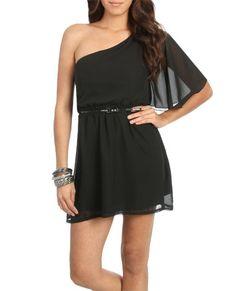 One Shoulder Chiffon Dress (Black). Wet Seal. $26.50