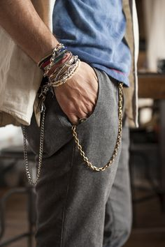 Mens Fashion: Bohemian - Style Hipster Style- street: Accessorise with Bracelets and pocket chains Pinterest:@keraavlon
