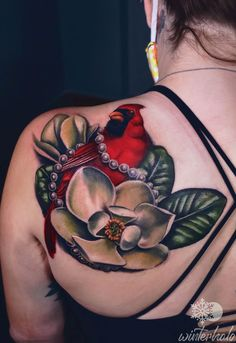 Realistic Cardinal tattoo with an intertwined string of pearls sitting on a magnolia blossom By Christopher Hedlund - Winterhalo NYC Tattoo Artist tattoos best art illustration illustrator realistic realism drawing painting colorful bright pretty beautiful color New York City Chris floral flower magnolia Nyc Tattoo Artists, Cardinal Tattoos, String Of Pearls, Magnolia Flower, Floral Flowers, Illustrator, Illustration Art, Skull, Bright
