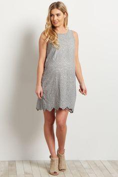 Grey Lace Overlay Sleeveless Shift Dress