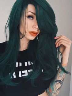 Lace Front wig blue and green ombre hair kylie green wig wig green blue green hair highlights pink blue green hair green hair from swimming pool anne of green gables hair – Frauen Haare Blue Green Hair, Green Wig, Green Hair Colors, Cool Hair Color, Dark Teal Hair, Pink Blue, Edgy Hair Colors, Green Hair Streaks, Hair Color Ideas
