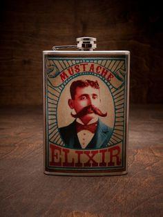 Trixie & Milo Mustache Elixir Flask for BourbonandBoots.com