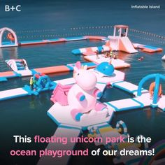 This Floating Unicorn Park Is the Ocean Playground of Our Dreams – Travel and Tourism Trends 2019 Vacation Places, Dream Vacations, Oh The Places You'll Go, Cool Places To Visit, Inflatable Island, The Ocean, Floating, Destination Voyage, Beautiful Places To Travel