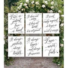 Set of 10 Wedding Aisle Signs 1 Corinthians 13 Wedding Signs | Etsy Wood Wedding Signs, Wedding Signage, Dream Wedding, Wedding Day, Wedding Ceremony, Burgundy And Grey Wedding, Love Is Patient, Hand Painted Signs, Wedding In The Woods