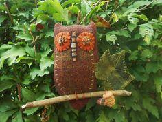 Primitive Wool Owl  Soft Sculpture Ornament FAAP by kklprimitives on Etsy