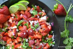 Strawberry Jalapeño Salsa Recipe Condiments and Sauces with strawberries, purple onion, cilantro, jalapeno chilies, lime, cracked black pepper
