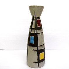 "Midcentury Modern Bay Keramik ""Portugal"" Decor Art Pottery Vase, Red, Blue, Green, Yellow"