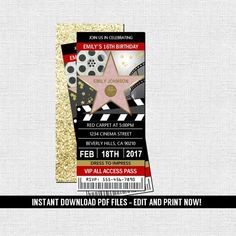 Hollywood Ticket Invitation Red Carpet Movie by nowanorris 13th Birthday Invitations, Creative Wedding Invitations, 11th Birthday, Birthday Parties, Ticket Design, Party Tickets, Prom Themes, Ticket Invitation, Hollywood Theme