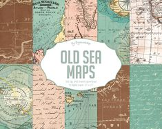 Vintage maps digital paper Old Sea Maps with