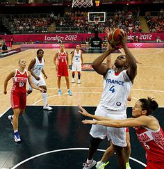 France's Isabelle Yacoubou shoots against Russia