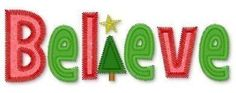 BELIEVE Zig Zag CHRISTMAS Tree Applique 5x7 Machine Embroidery