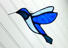 Blue Hummingbird Stained Glass Sun Catcher Free by JBsGlassHouse
