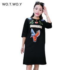 High Quality Autumn Thick T Shirt Dress Women Flower Animal Embroidery Cotton Casual Dresses Loose Half Sleeve T shirt Dress 096
