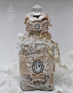 altered bottles | Shabby Chic Inspired - altered bottle | Bottle/can/jar