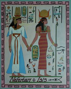 """this piece of Egyptian art was titled: """"The Ancient Egyptian Goddess Isis Leading Queen Nefertari"""". the creator of the piece is Ben Morales-Correa and the date this piece was created is unknown"""