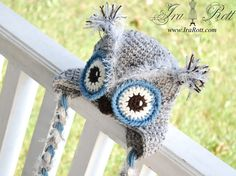 Frosty Owl Hat with Ear Flaps for Boy or Girl  made to by IraRott, $35.00