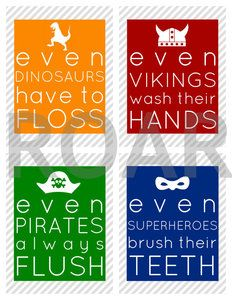 Boy Bathroom Prints from iammommahearmeroar.bigcartel.com // these primary colored reminders encourage your young men to keep up on their hygiene!