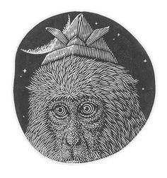 紙創りの冠 Paper Crown 4. 9x5. 1cm - Wood Engraving by Atsushi Matsuoka-2016