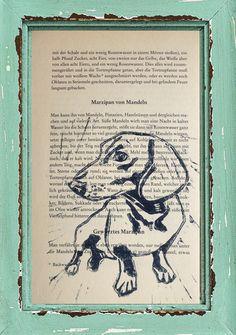Linoldruck - Dackel, Linoldruck, alte Kochbuchseite, Marzipan - ein Designerstück von artita bei DaWanda