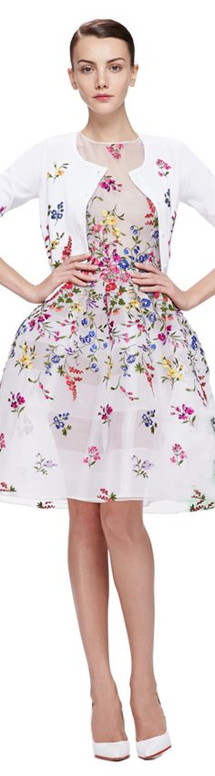 Spring Fashion 2015 | Feminine white dress and sweater, embroidered with vibrant flowers. Love this dress but I'd add either a lining or a slip to the dress.