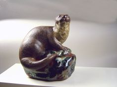 Ceramic River Otter Sculpture