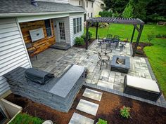 This Outdoor Living Patio project included installation of new patio area, pergola, front and side walkways, and lighting as per our design. Small Backyard Patio, Backyard Seating, Backyard Patio Designs, Back Patio, Pergola Designs, Backyard Landscaping, Patio Ideas, Outdoor Living Patios, Stone Backyard