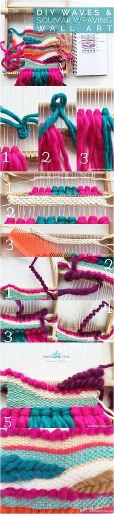Create this stunning weaving wall art following this step by step tutorial explaining the waves and soumak braids techniques.