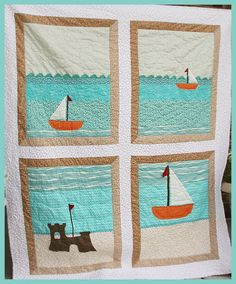 Adorable Sailboat quilt! I want to make something like this, only I would replace the sand castle with an anchor.