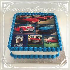 Car Edible Picture Cake #carediblepicturecake Edible Picture Cake, Motorbike Cake, Cupcake Cakes, Cupcakes, Edible Printing, Square Cakes, Cakes For Boys, Cake Decorating, Truck