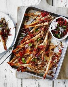 Char-grilled whole prawns with watermelon and basil dressing. From 'Recipes for a barbecue Christmas' on goodfood.com.au.