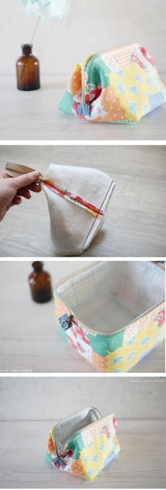Step-To-Step Small Pretty Wallet Tutorial. Sewing Hacks, Sewing Tutorials, Sewing Patterns, Fabric Crafts, Sewing Crafts, Sewing Projects, Diy Crafts, Sacs Tote Bags, Birthday Gifts For Teens