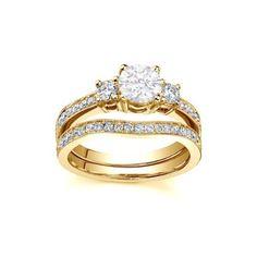 1 CaratRound cutDiamondThree Stone Diamond Bridal Ring Set14k YellowGold JeenJewels http://www.amazon.com/dp/B00IUWL04K/ref=cm_sw_r_pi_dp_B9RAub09BT6NP