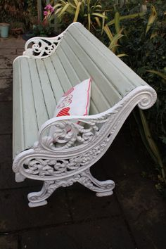 Victorian Cast Iron Bench by Restored2bloved on Etsy