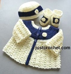 Free PDF baby crochet pattern for matinee set http://www.justcrochet.com/matinee-coat-set-usa.html available in UK and USA format #justcrochet