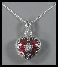 New Sterling Silver Red Enamel & Marcasite Heart Locket - w/Chain & Gift Box