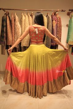 How pretty is the back on this beautiful ombre yellow pink lehenga #Frugal2Fab