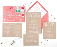 Kraft Coral Calligraphy Wedding Invitations Swiss Cottage Designs31 Julie + Ryans Kraft and Coral Wedding Invitations