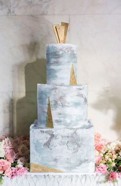 Art Deco Inspired Marble Wedding Cake
