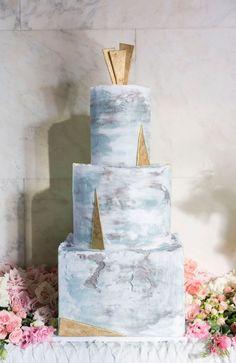 Art Deco Inspired Marble Wedding Cake