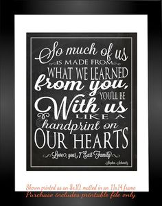 """So much of us is made from what we learned from you, you'll be with us like a handprint on our hearts"" - Printable Personalized CUSTOM Wall Art by Jalipeno - Lyrics from the Broadway musical ""Wicked"" song ""For Good"". It's the perfect, personalized gift for a teacher, professor, dance teacher, coach, bridesmaid, co-worker, boss, assistant, friend, etc. and for so many occasions - retirement, thank you, moving away, graduation, end of season, etc. Check the shop for lots more Wicked quotes!"
