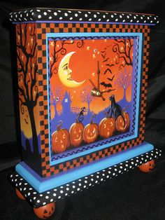Whimsical Black Cat Halloween Mantle Clock by Carolee Clark