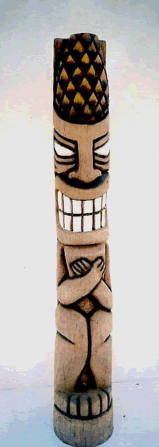 "60"" Tiki God Carved Hawaiian Happy Tiki Statue"